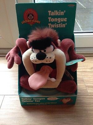 "Talkin' Tongue Twistin' Taz Plush 10"" , Looney Tunes - Rare Taz Collectable"