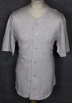 Vintage Red Fox Athletic Wear Baseball Jersey Shirt Mens Medium Grey