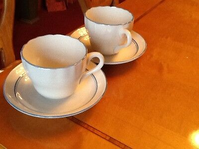 Spode white with blue trim Malborough tea cup and saucer x 2
