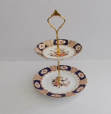 Antique Tuscan  Hand Painted 2 Tier Small Cake/Biscuit/Floral Table Stand.