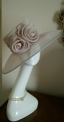 HATTITUDE COLLECTION  Silver Grey Wide Brim Wedding Hat Ascot Made in England