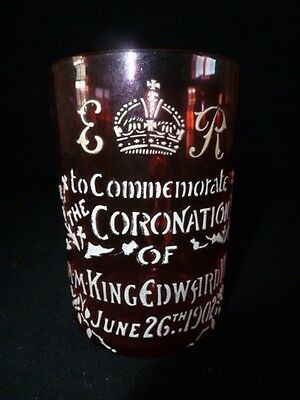 Cranberry Glass Cup With The Coranation Of H.m.king Edward V11 June 26Th 1902