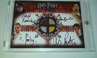 Harry Potter GOF Quad Autograph Card Daniel Radcliffe Pattinson Poesy Janevski