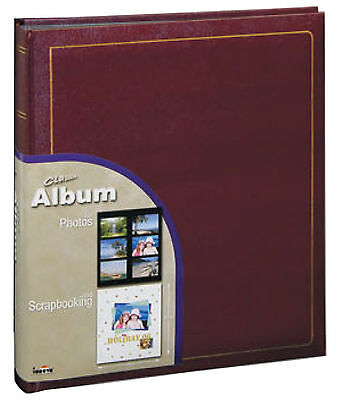 Classic Library Photo Album in Burgundy with Black Pages-Traditional Plain Pages