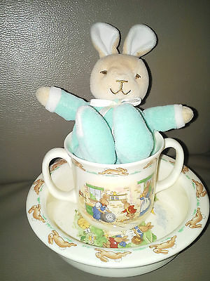 Royal Doulton Porcelain Bunnykins Bowl, Cup And Bunny