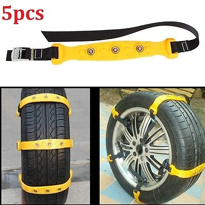 5x Car Snow Tire Anti-skid Chains Thickened Beef Tendon Auto Truck Wheel Chains