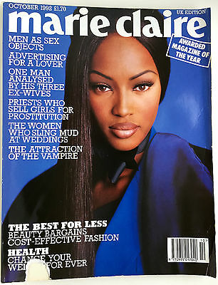 October 1992 Marie Claire Fashion Magazine 90s Nineties Naomi Campbell UK Style