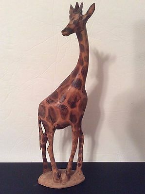 Vintage Collectible Handcarved Wooden Giraffe Figurine, Made in Kenya, 12 inches