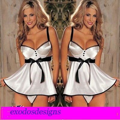Lingerie  Dress Satin Babydoll Sleepwear Underwear G-String Padded Bra UK 6-10