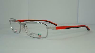 Tag Heuer TH 0804 005 BRUSHED SILVER BLACK & RED Eyeglasses Frames Size 57