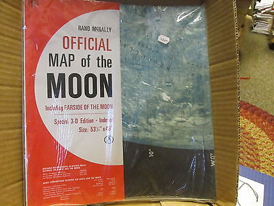 Rand McNally Map of the Moon 3 D edition 53 x 48 SEALED Vintage Antique Farside