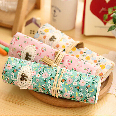 Girls Cute Floral Flowers Canvas Roll-Up Pencil Case Stationery Bag Pen Storage