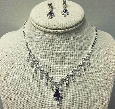 Purple Rhinestone Crystal Earrings Necklace Set Bridal Party Quinceanera