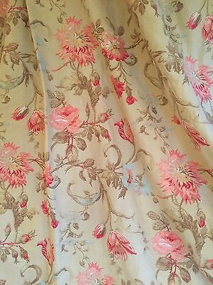 Laura Ashley Linen Curtains Vintage Made To Measure  English Roses & Tulips
