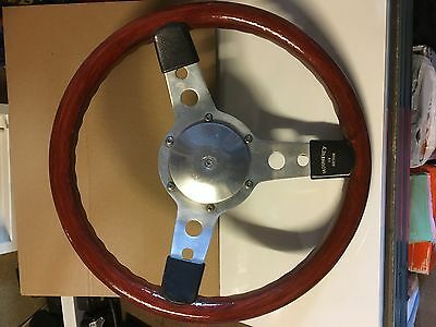 """Moutney Gt Classic 13"""" Wooden Steering Wheel With Alloy Boss"""
