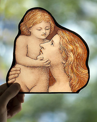 Mother and Child stained glass fragment preraphaelites, kilnfired, glasspainting