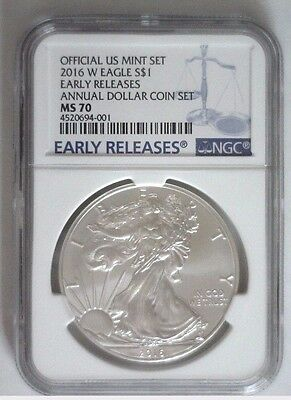 2016-W Burnished Silver Eagle ANNUAL DOLLAR UNC SET NGC MS-70 Early Releases