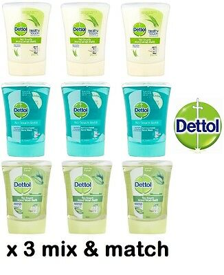3 x Dettol No Touch Hand Wash Refills Aloe Vera Cucumber Spash Green Tea Ginger