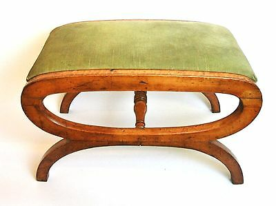 ANTIQUE Regency / Early Victorian Maple X framed stool with drop in seat