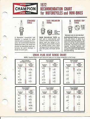 1972 - Champion Spark Plug - Motorcycle Recommendation Chart Brochure - Original