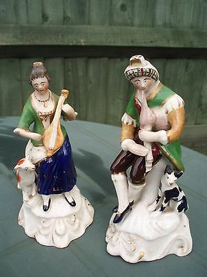 Pair Of Antique Staffordshire Figures Of A Lady & Gentleman W/musical Instrument