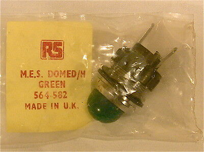 radio parts , panel lamp holder, M.E.S. domed lens ,green new/old stock