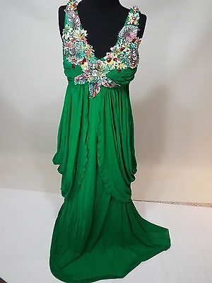 Gypsy green wedding / party dress gown size M-L free shipping