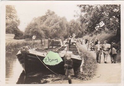 Old Photo Narrow Boat Iwa Inland Waterways Association Canal Barges People