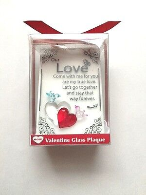 GLASS VALENTINES LOVE PLAQUE Our Love Forever!