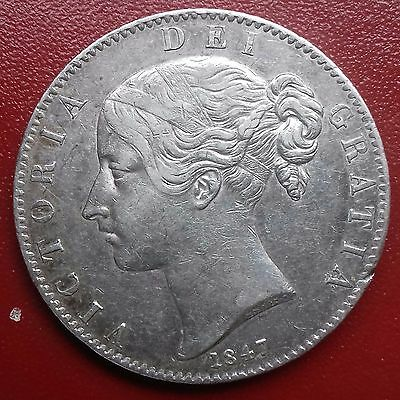 Scarce 1847 Crown. X1 On Edge. Cinquefoil Stops. British Silver Coins.