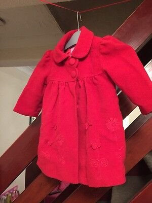 Girls Red Winter Coat 2-3 Years. Flowers And Butterflies