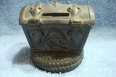 Vintage Old Cast Metal Pirates Treasure Trunk Bank