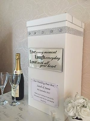 "Personalised Wedding Card Post Box - ""Bling"", Diamante, Mirrored Plaque"