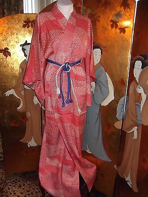 Authentic Vintage Japanese  Kimono Silk With Spotty Starlike Flower Design Red