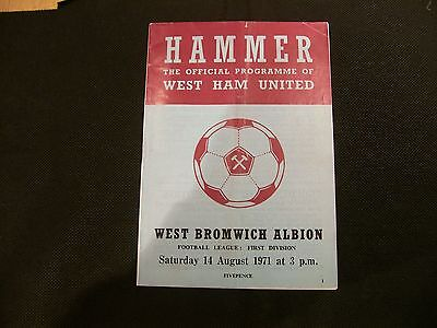 Football Programme: West Ham V West Bromwich Albion 14th August 1971