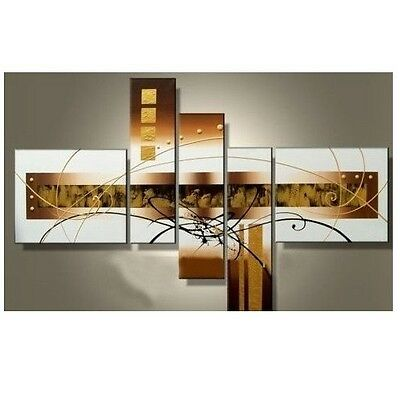 Art Hand-Painted 5 Pieces Mixorde Set Oil Painting on Canvas Wood Framed Golden