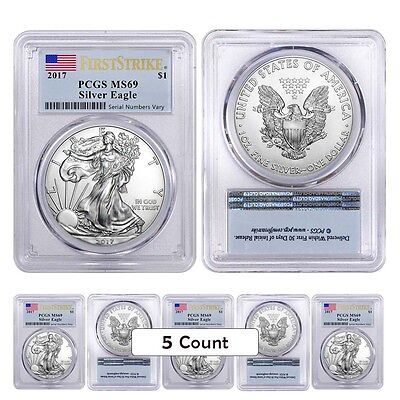 PRESALE - Lot of 5 - 2017 1 oz Silver American Eagle $1 Coin PCGS MS 69 First St