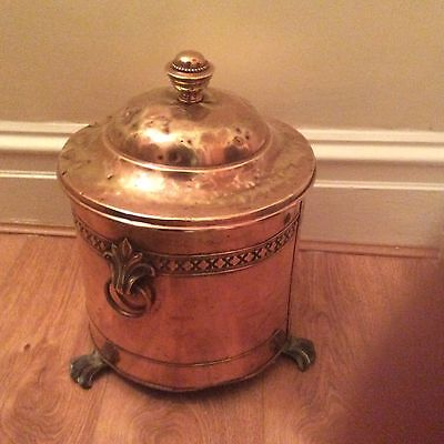 Vintage Decorative Copper Plated On Brass Log Or Coal Bucket With Lid,3 Legs