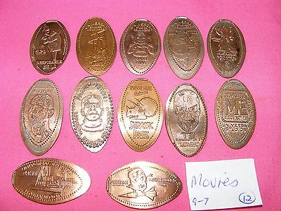 12 ASSORTED MOVIES THEMED Elongated Coin Rolled Pressed Smashed Pennies L97