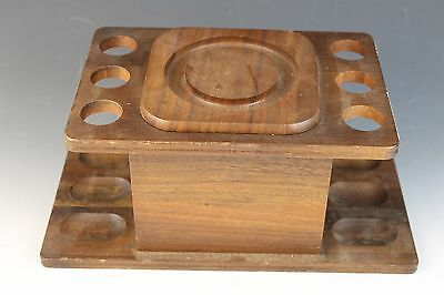 Vintage Signed Aztec Wooden Tobacco Humidor with 6 Slot Pipe Rest