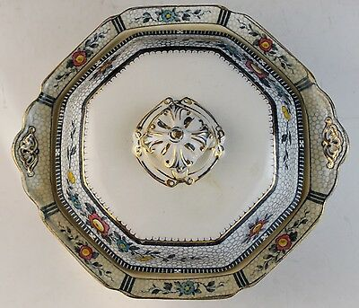Antique 1900's Burgess Leigh Burleigh Ware Flow Blue Covered Serving Bowl