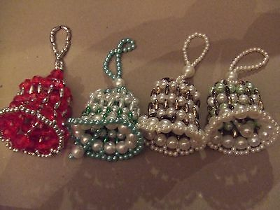 4 Vintage Beaded Christmas Bell Ornaments