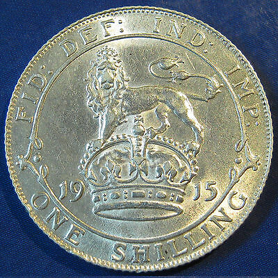 1915 1/- George V silver Shilling - extremely high grade with full lustre