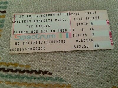 The Eagles Concert Ticket Stub 11/19/79 The Spectrum