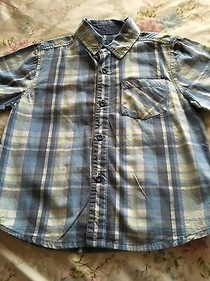 Boys Short Sleeved Shirt Blue & White Checked Age 1.5-2 Years 18-24 Months