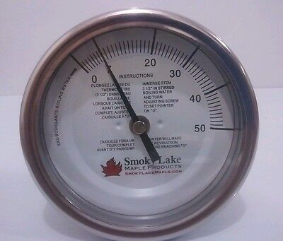 "Maple syrup thermometer, 3"" dial, 9"" stem, 0-50, pan mounted, 1/4"" NPT, boiling"