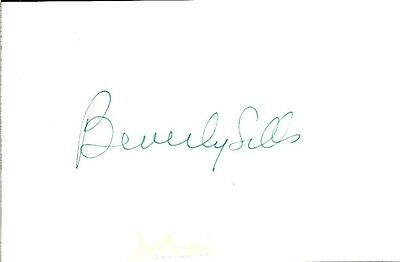 """Beverly Sills 3"""" x 5"""" Index Card Signed w/ COA"""