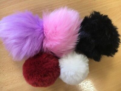 Pom Pom Faux Fur Ball Key Ring Bag Charm Large & Small Keyrings
