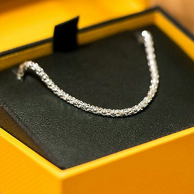 """Sterling silver popcorn chain 16"""" necklace in Goldsmiths gift box"""