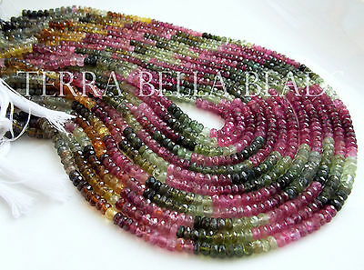 """7"""" AAA WATERMELON TOURMALINE faceted gem stone rondelle beads 4mm multi"""